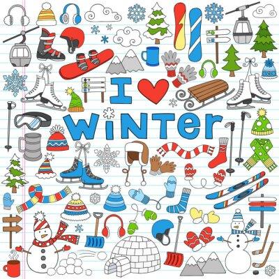 Posters Plaisirs d'hiver Retour à l'école Notebook Doodles-Vector Illustration