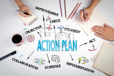 Posters Plan d'action Concept. La réunion à la table de bureau blanc