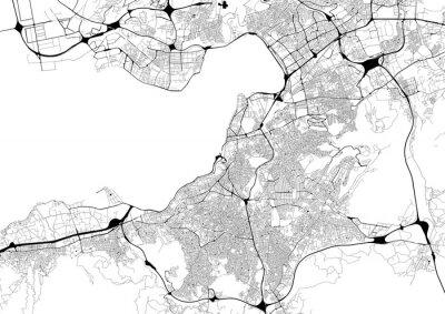 Posters Plan de ville monochrome avec réseau routier d'Izmir