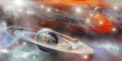 Posters Planète dans l'espace avec de nombreux système de bague