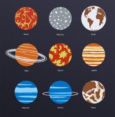 Posters Planètes icônes sur fond sombre