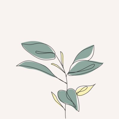 Posters Plant leaves continuous line drawing. One line . Hand-drawn minimalist illustration, vector.