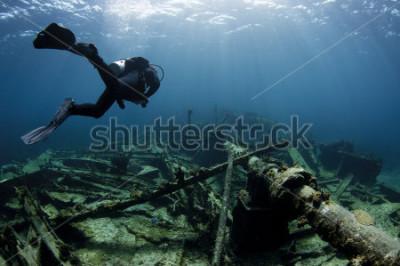Posters Plongeur nageant sur une épave de navire