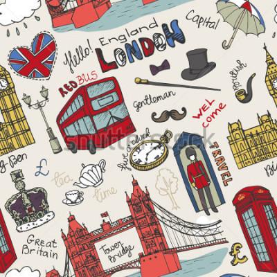Posters Point de repère de Londres de Londres, lettrage dans le modèle sans couture. Dessinés à la main fragmentaires Dessinés à la main. Icônes vintage de l'Angleterre, fond, toile de fond, papier peint,