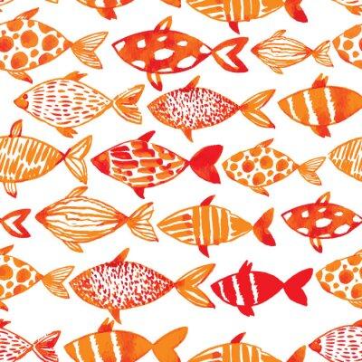 Posters Poissons d'or d'aquarelle légère. Seamlessly carrelage modèle de poisson. Ve