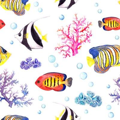 Posters Poissons exotiques, coraux de mer et boules d'eau. Répétition du motif. Aquarelle