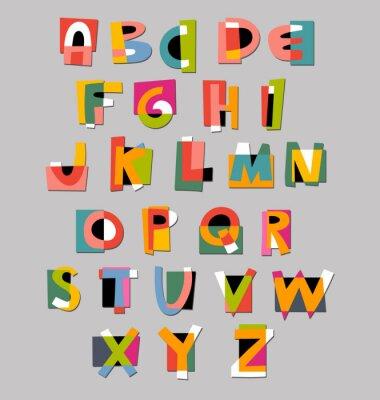 Posters Police abstrait alphabet. Livre de style coupe-