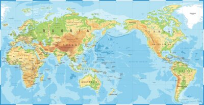 Posters Political Physical Topographic Colored World Map Pacific Centered