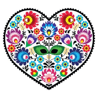 Posters Polonais art populaire art coeur avec des fleurs - Lowickie Wzory