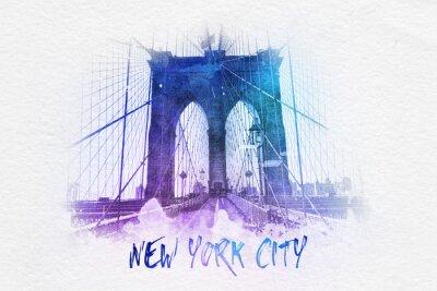 Posters Pont de Brooklyn avec le texte de New York City