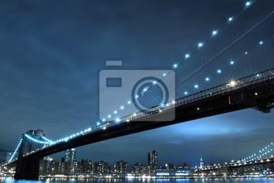 Pont de Brooklyn et de Manhattan la nuit