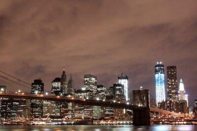 Pont de Brooklyn et de Manhattan la nuit, New York City