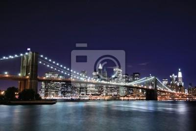 Pont de Brooklyn et Manhattan la nuit, New York City