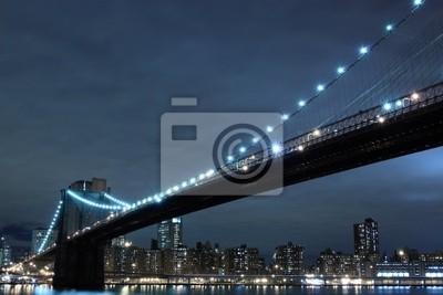 Pont de Brooklyn et Manhattan la nuit - New York City