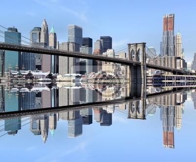 Pont de Brooklyn et Manhattan Skylin