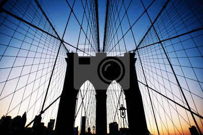 Pont de Brooklyn et Manhattan Skyline avec la Statue de la Liberté