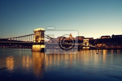 Pont des Chaînes, le Palais Royal et le fleuve Danube