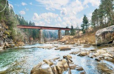 Posters Pont sur la rivière de montagne