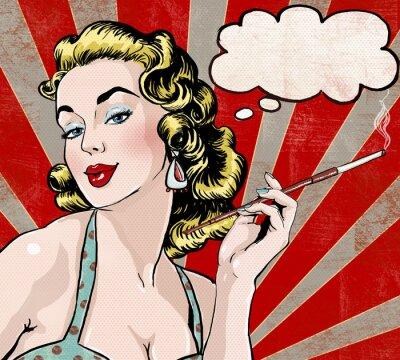 Posters Pop Art Femme avec la bulle et de cigarettes.