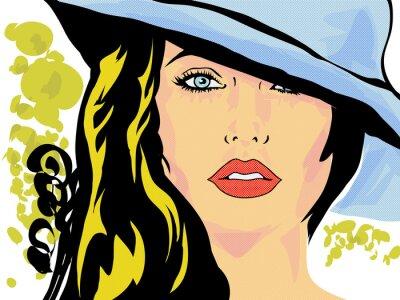 Posters Pop Art femme chapeau visage, tête