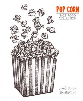 Posters Pop-corn croquis dessinés à la main, snack de nourriture de cinéma dans un style gravé. Illustration vectorielle d'une boîte pleine avec le maïs en vol. Symbole de la restauration rapide, du cinéma et