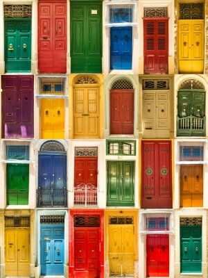 Posters portes avant colorées des maisons