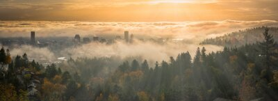 Posters Portland Downtown misty rolling fog and autumn foliage in high resolution panorama