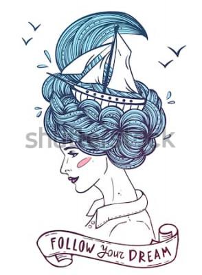 Posters Portrait couleur dessiné à la main d'une belle jeune femme de rêve avec bateau dans des vagues de cheveux bouclés comme la mer. Tatouage, zentangle, mode, marine, carte postale, ruban vintage avec