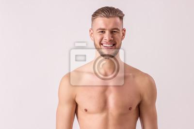 Homme Barbu Nu portrait de bel homme torse nu à la recherche dappareil photo