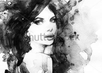 Posters portrait de femme .abstrait aquarelle .fashion fond