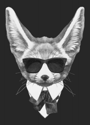 Posters Portrait Fennec Fox in suit. Hand-drawn illustration of dog. Vector isolated elements.