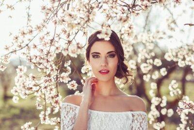 Posters Portrait, jeune, femme, fleurir, jardin, ressort, tim