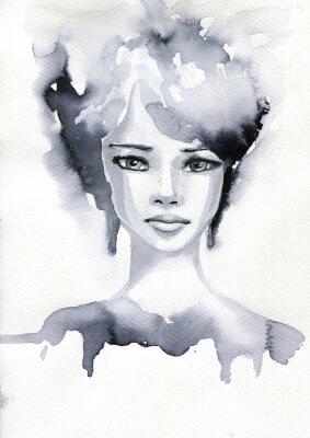 Posters Portret akwarelowy kobiety