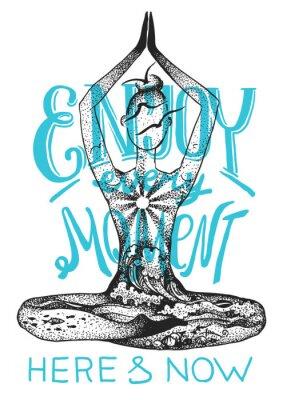 Posters Pose de méditation de yoga. Illustration vectorielle dessinés à la main graphique