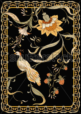 Posters Poster, background with flowers and bird in art nouveau style, vintage, old, retro style. Stock vector illustration. On black background.