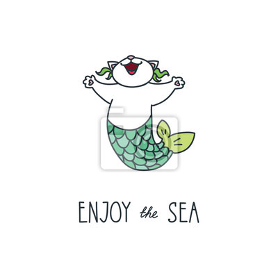 Illustration Vectorielle De Doodle Sirene Chat Heureux
