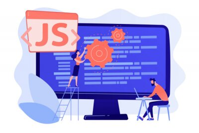 Posters Programmers using JavaScript programming language on computer, tiny people. JavaScript language, JavaScript engine, JS web development concept. Pinkish coral bluevector isolated illustration