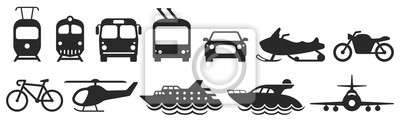 Posters Public transport icons set. Vector