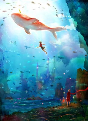 Posters Pure, literary, small and fresh, illustrations, beautiful women, girls, girls, fairy tales, dreams, fantasies, dreams, cities, castles, seabed, whales, deep sea, girls, schools of fish, oceans,