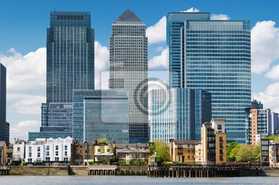 quartier financier, les bâtiments de la banque à Londres, Canary Wharf.