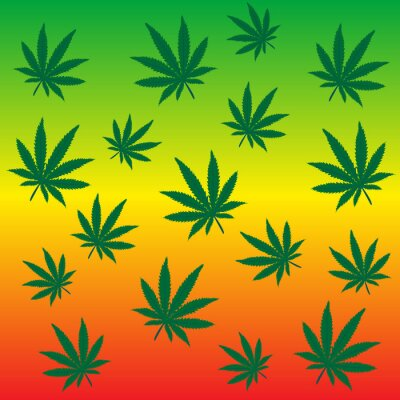 Rastafari fond avec des feuilles de marijuana