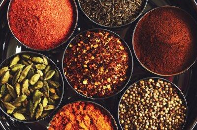 Posters Râtelier avec des épices indiennes traditionnelles pour la cuisson - cardamome, curcuma, cumin, graines de coriandre, cannelle et chili