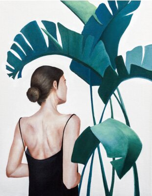 Posters realistic acrylic painting of woman with green plants