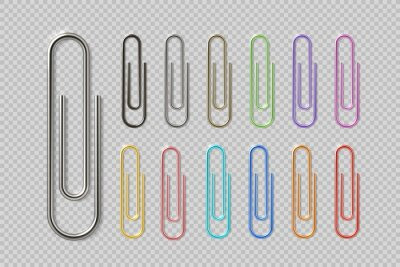 Posters Realistic colorful paper clip set. Metal fasteners notebook holders. Vector illustrations colors steel paperclip for organizing work process