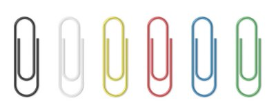 Posters Realistic paper clip set. Colorful paperclips on white background isolated templates