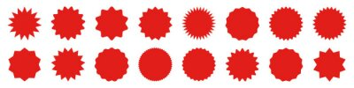 Posters Red shopping labels collection. Sale or discount sticker. Special offer price tag. Supermarket promotional badge. Vector sunburst icon.