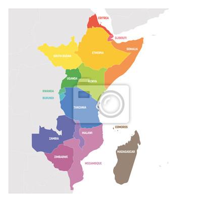 Posters Région de l'Afrique de l'Est. Carte colorée des pays d'Afrique de l'Est. Illustration vectorielle