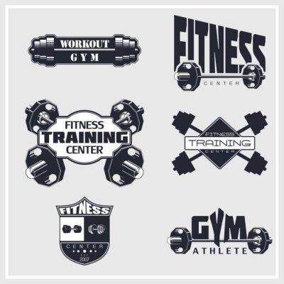 Posters Remise en forme, salle de gym, emblèmes de culturisme