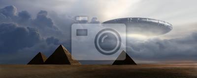 Posters Rendu 3D d'une soucoupe volante sur des pyramides