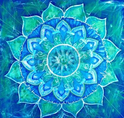 Posters résumé, bleu, tableau peint avec motif de cercle, mandala de chakra vishuddha